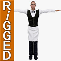 3d 3ds human waiter male