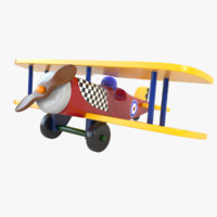 3d painted wood wooden airplane toy model