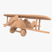 3d 3ds unfinished wooden airplane toy