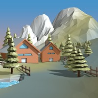 3ds max cartoon landscape