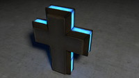 free glowing metal cross 3d model