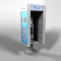 3d new york phone booth model