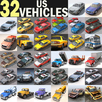 3d cars vehicles 32 trucks