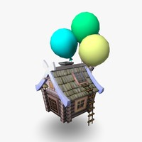 3d model flying hut cartoon house