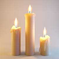 Three melted candles