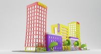3d city street cartoon model