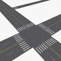 city roads construction kit 3d model