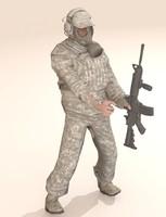 Soldier in protivogaz