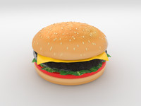 3d model of cheeseburger meat cucumber