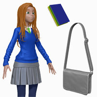 sculpt cartoon teenage student 3d model