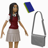 obj sculpt cartoon teenage student