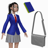 sculpt cartoon teenage student 3d obj