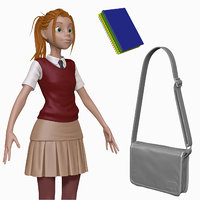sculpt cartoon teenage student obj