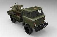 russian army truck gaz 3d model