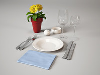 3ds max place setting tableware restaurant