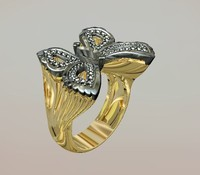3ds jewellery ring butterfly