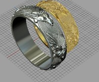 3d model jewellery ring wolf