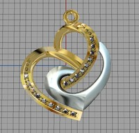 jewellery pendant heart 3d 3dm
