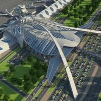 futuristic airport complex 3d model