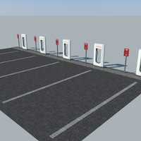 parking tesla supercharger 3d 3ds