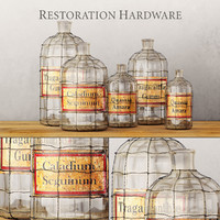 19TH C. CAGED APOTHECARY BOTTLE COLLECTION