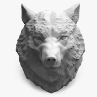 3d wolf head