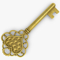 3d model love key gold silver