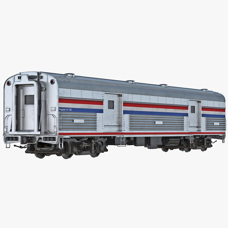 3d model railroad baggage car generic. Black Bedroom Furniture Sets. Home Design Ideas