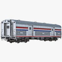 3d model railroad baggage car generic