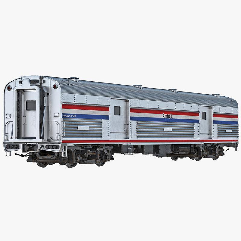 3d model of Railroad Amtrak Baggage Car 3ds 00.jpg