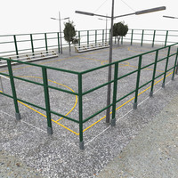 outdoor football pitch 3d model