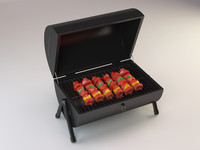 3d model of barbecue shish kebab
