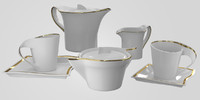 tea set gold 3d model