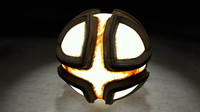 3d model glowing metal sphere
