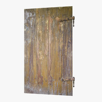 3d old wooden door model