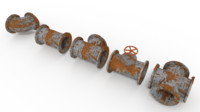 3ds max old rusty pipes