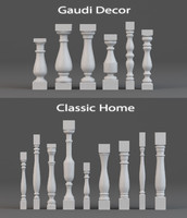 3d balusters gaudi decor classic model