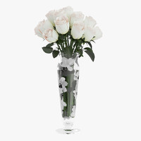 bouquet white roses glass vase c4d