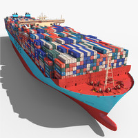 3ds max triple e class container ship