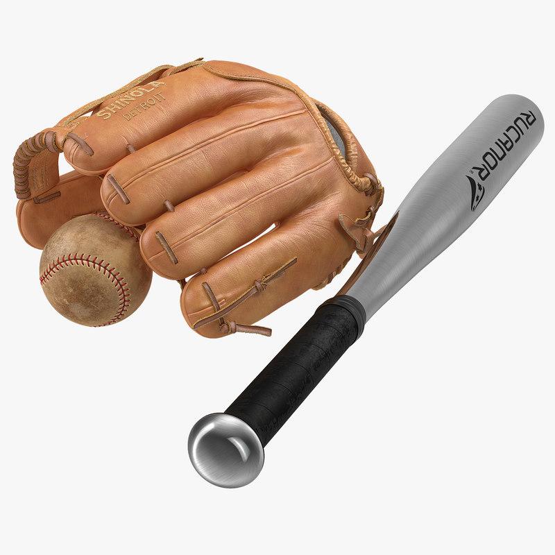3d models of Baseball Collection glove ball batt 00.jpg
