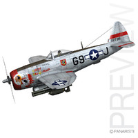 3d model republic p-47 thunderbolt ski-u-mah