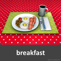 3d breakfast fork knife
