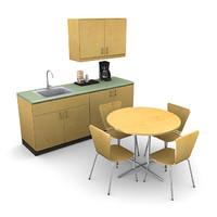 3d office break room model