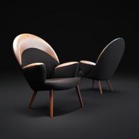 3d model upholstered-peacock-chair