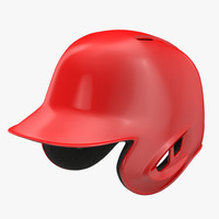 baseball helmet red sided 3d c4d