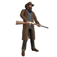 rigged cowboy 3 3d model