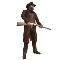 rigged cowboy 3d model