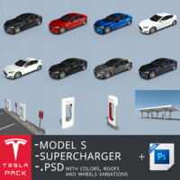 Telsa Model S + Supercharger pack