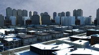 3d model of cityscape scene highrise