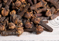 Pile of cloves (Eugenia caryophyllata). Macro